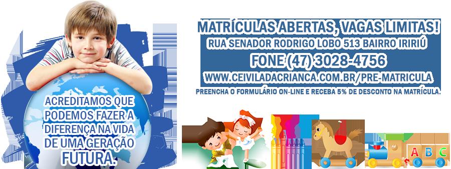 Banner, Cei Vila da Criança, matrículas abertas, vagas limitadas!